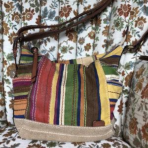 Fossil Multi-color Stripe Canvas Shoulder Bag